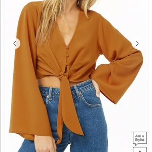 Forever 21 Button-Front Crop Top